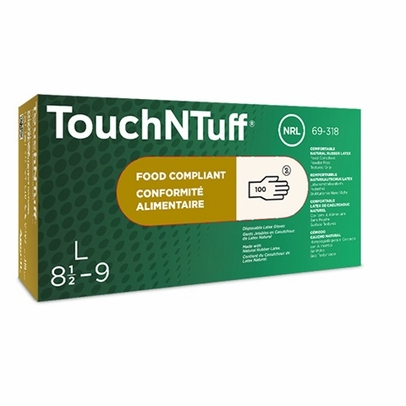 Ansell 69-318-M TouchNTuff® Medium Ambidextrous Powder-Free Textured Grip Natural Rubber Latex Glove - 100 Glove/Box