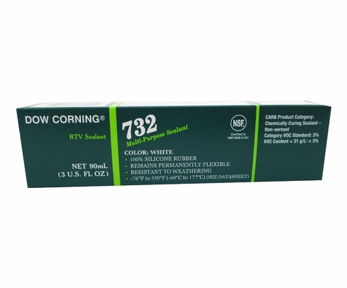 Dow Corning 732 White Multi-Purpose Silicone Sealant - 90 mL Tube