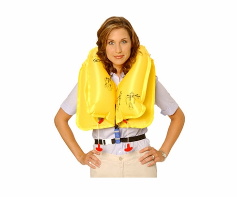 EAM Worldwide P0723E129P Yellow KSE-35L8 Twin-Cell Helicopter Life Vest