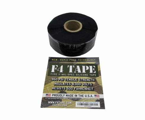 "Harbor Products F4 Black Self-Fusing Silicone Tape - 1"" Wide x .020"" Thick x 36' Long Roll"