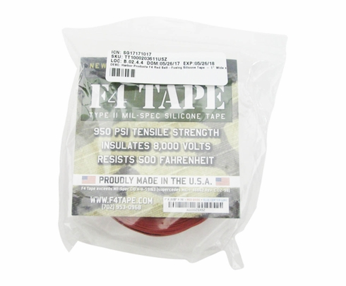 """Harbor Products F4 Red Self-Fusing Silicone Tape - 1"""" Wide x .020"""" Thick x 36' Long Roll"""