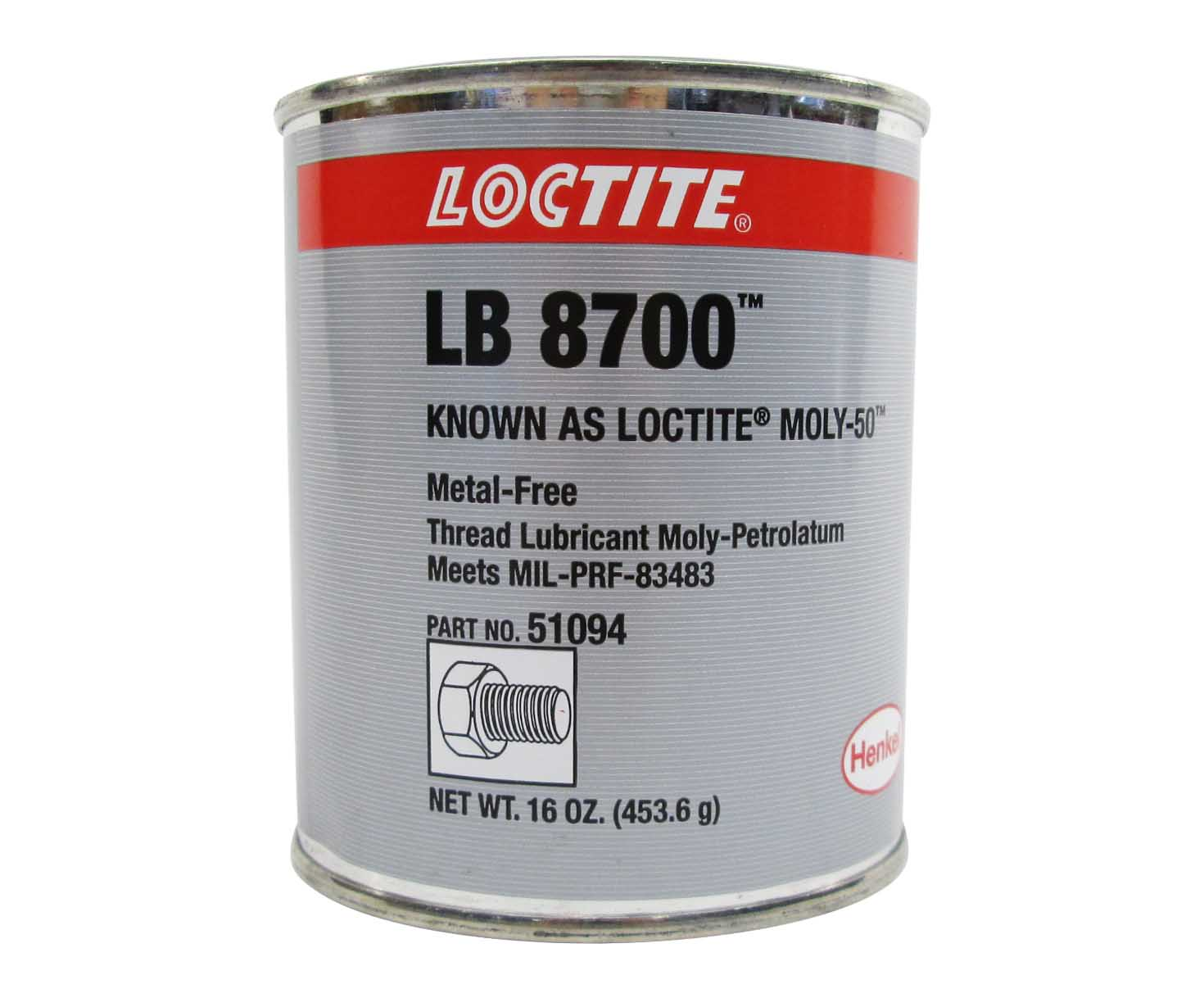 Henkel 51094 LOCTITE® LB 8700™ Moly 50™ Metal-Free Gray Smooth Thread  Lubricant Paste - 453 Gram (16 oz) Can