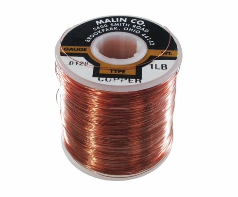 "Malin 11-0126-001S Copper 0.0126"" #28 Breakaway Wire (1 lb Roll)"