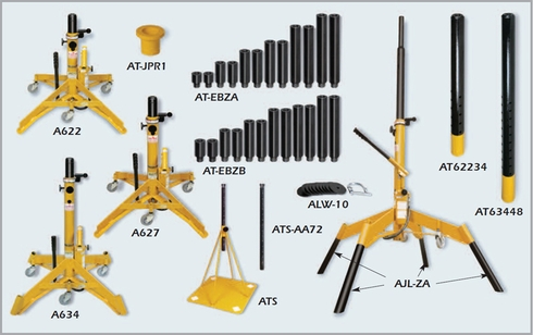 """Meyer Hydraulic A627 TriTask Yellow 8,000 lbs Capacity 27.5"""" to 47.5"""" Hydraulic Aircraft Jack"""