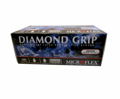 Microflex MF-300-M Diamond Grip Natural Medium Powder-Free Latex Gloves - 100 Glove/Box
