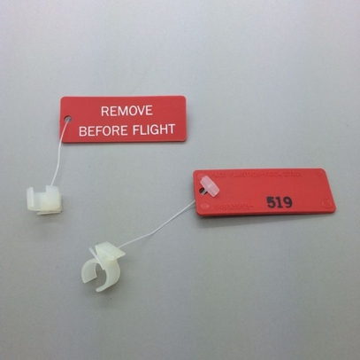 """Paco Plastics S4933959-519 FAA-PMA Natural/Clear Circuit Breaker Lockout Ring with """"REMOVE BEFORE FLIGHT"""" Tag"""