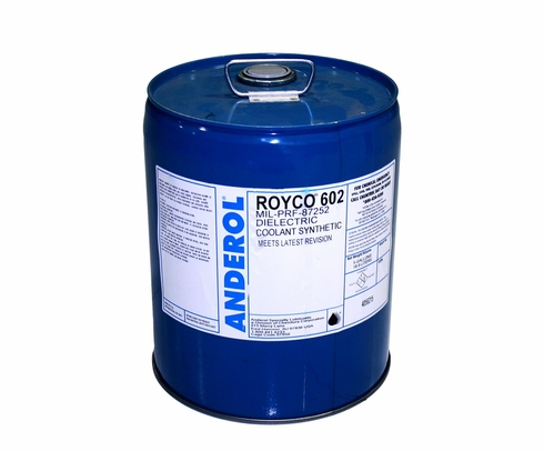 ROYCO® 602 White MIL-PRF-87252 Spec Hydrolytically Stable Dielectric Coolant Fluid - 5 Gallon Steel Pail