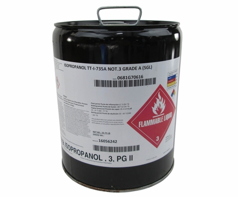 Military Standard TT-I-735A NOT.3 Grade A Isopropyl Alcohol Solvent - 5 Gallon Pail