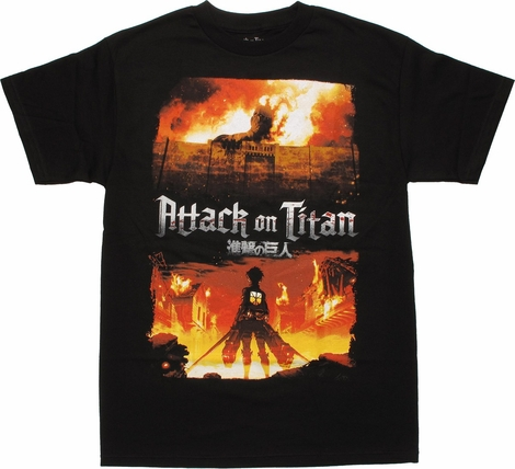 Attack on Titan Fiery Poster T Shirt