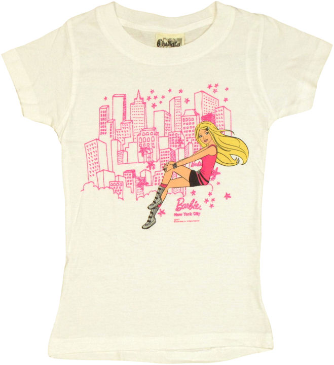 barbie sitting nyc white youth girls t shirt. Black Bedroom Furniture Sets. Home Design Ideas