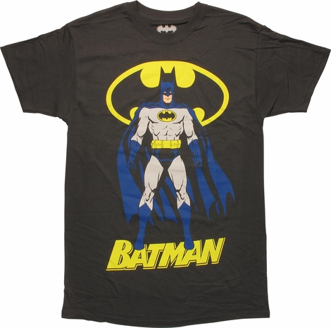 Batman Blue Cape Stand with Logo and Name T-Shirt