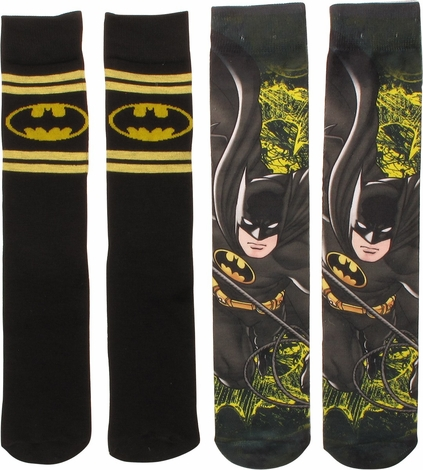 Batman Dye and Knit 2 Pack Crew Socks Set