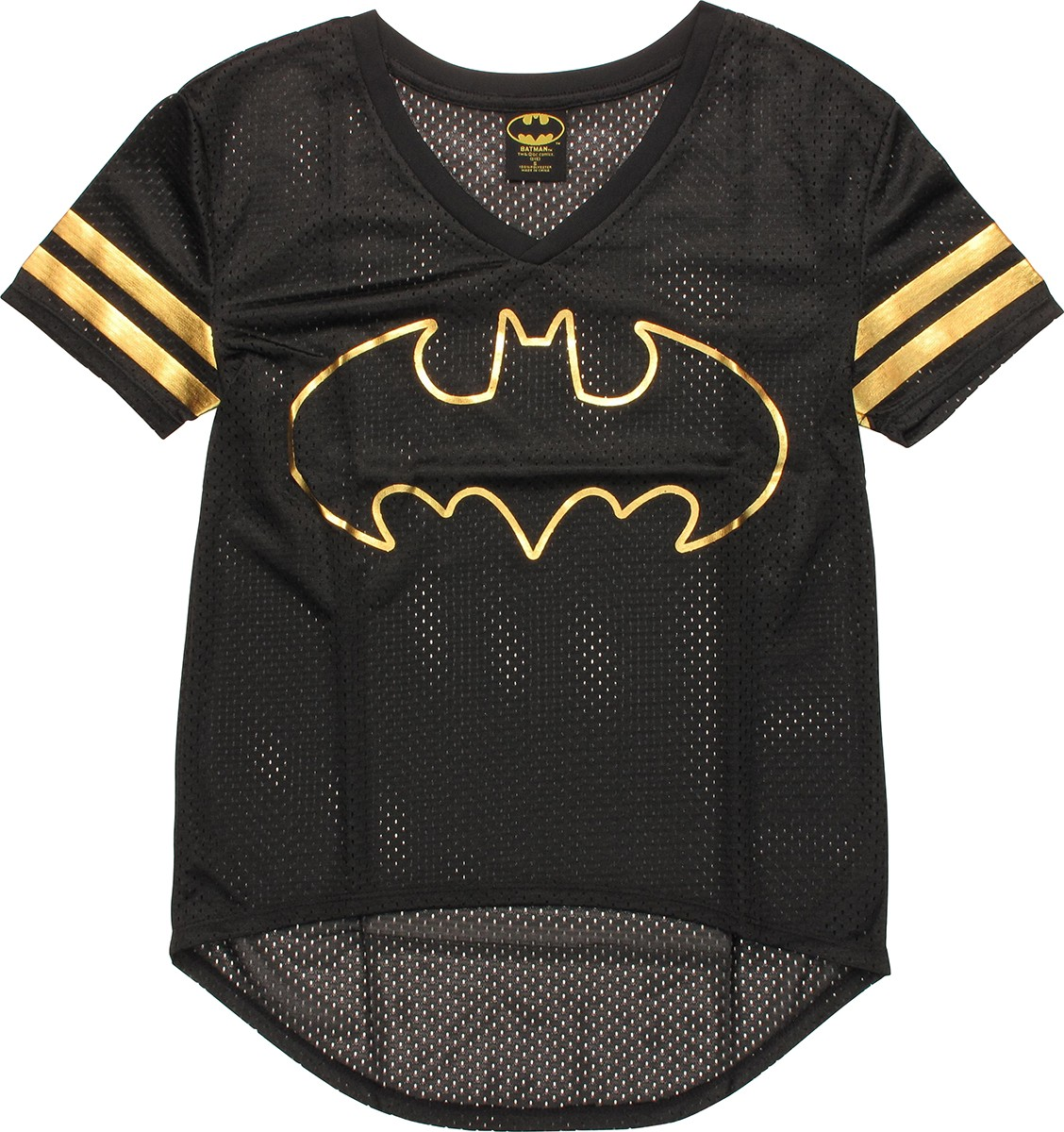 batman foil logo v neck mesh juniors t shirt. Black Bedroom Furniture Sets. Home Design Ideas