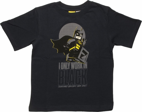 Batman Lego I Only Work in Black Juvenile T-Shirt