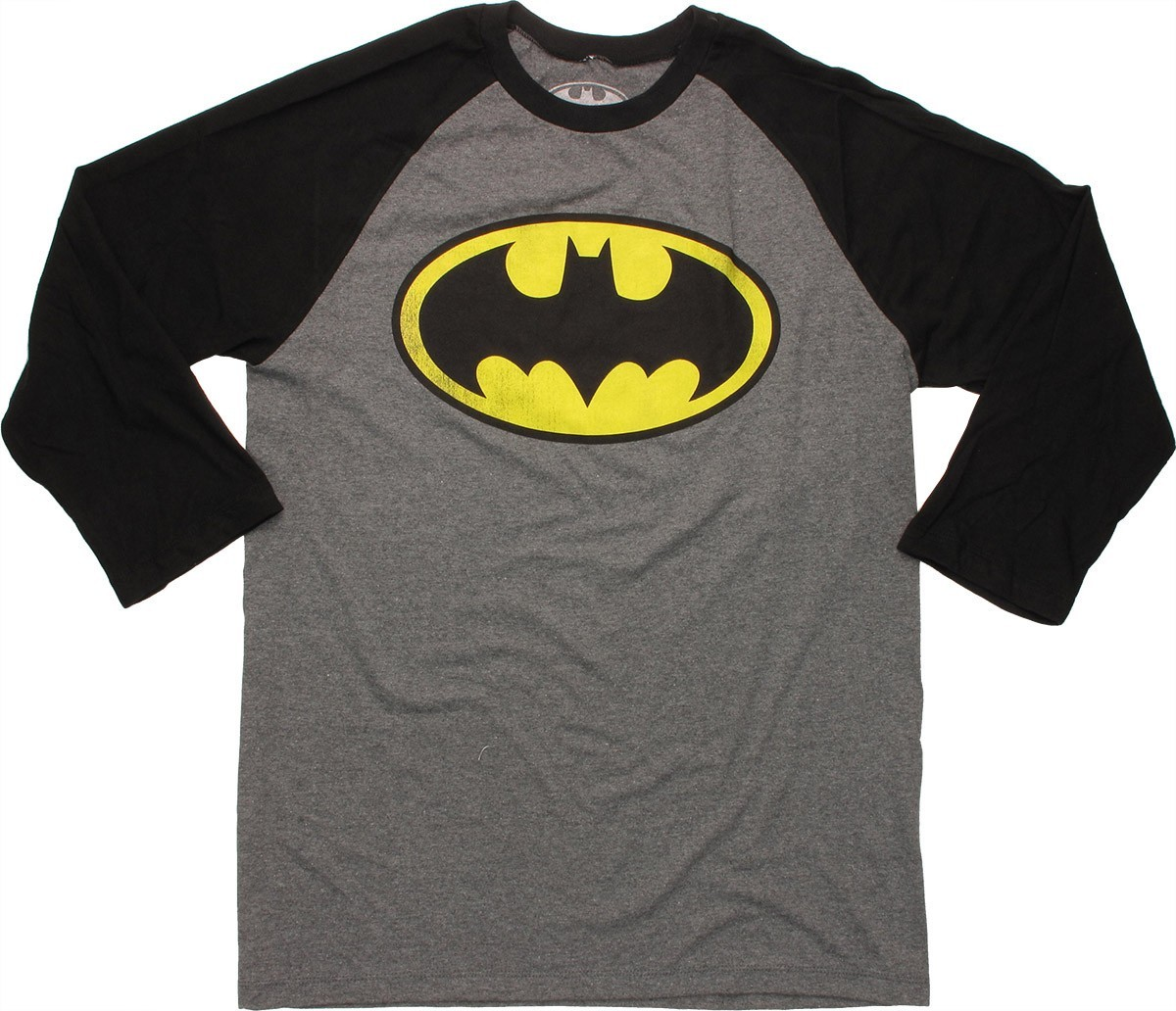 batman logo 3 4 raglan t shirt. Black Bedroom Furniture Sets. Home Design Ideas