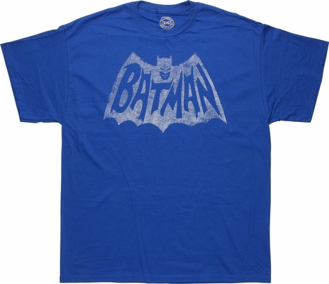 Batman White Television Logo Royal Blue T-Shirt