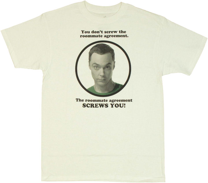 Big bang theory roommate agreement t shirt for T shirt licensing agreement
