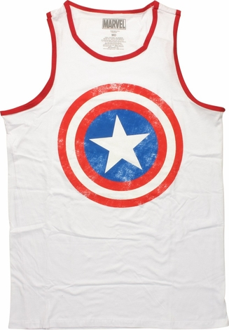 Captain America Distressed Logo Ringer Tank Top