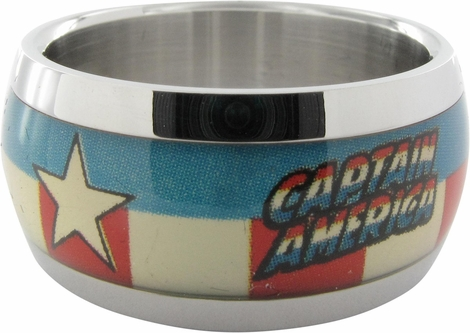 Captain America Name Shield American Flag Ring