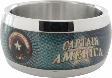 Captain America Name Stars Shield Ring