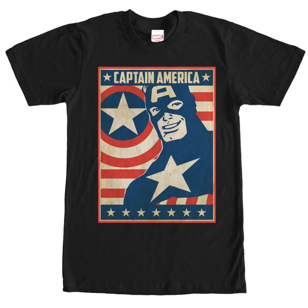 captain america poster smile t shirt. Black Bedroom Furniture Sets. Home Design Ideas