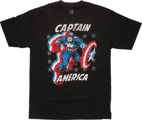 Captain America Red White Blue Running T-Shirt