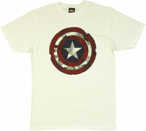 Captain America Scarred Shield T Shirt Sheer