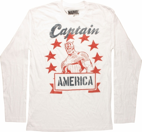 Captain America Sketch Long Sleeve T-Shirt