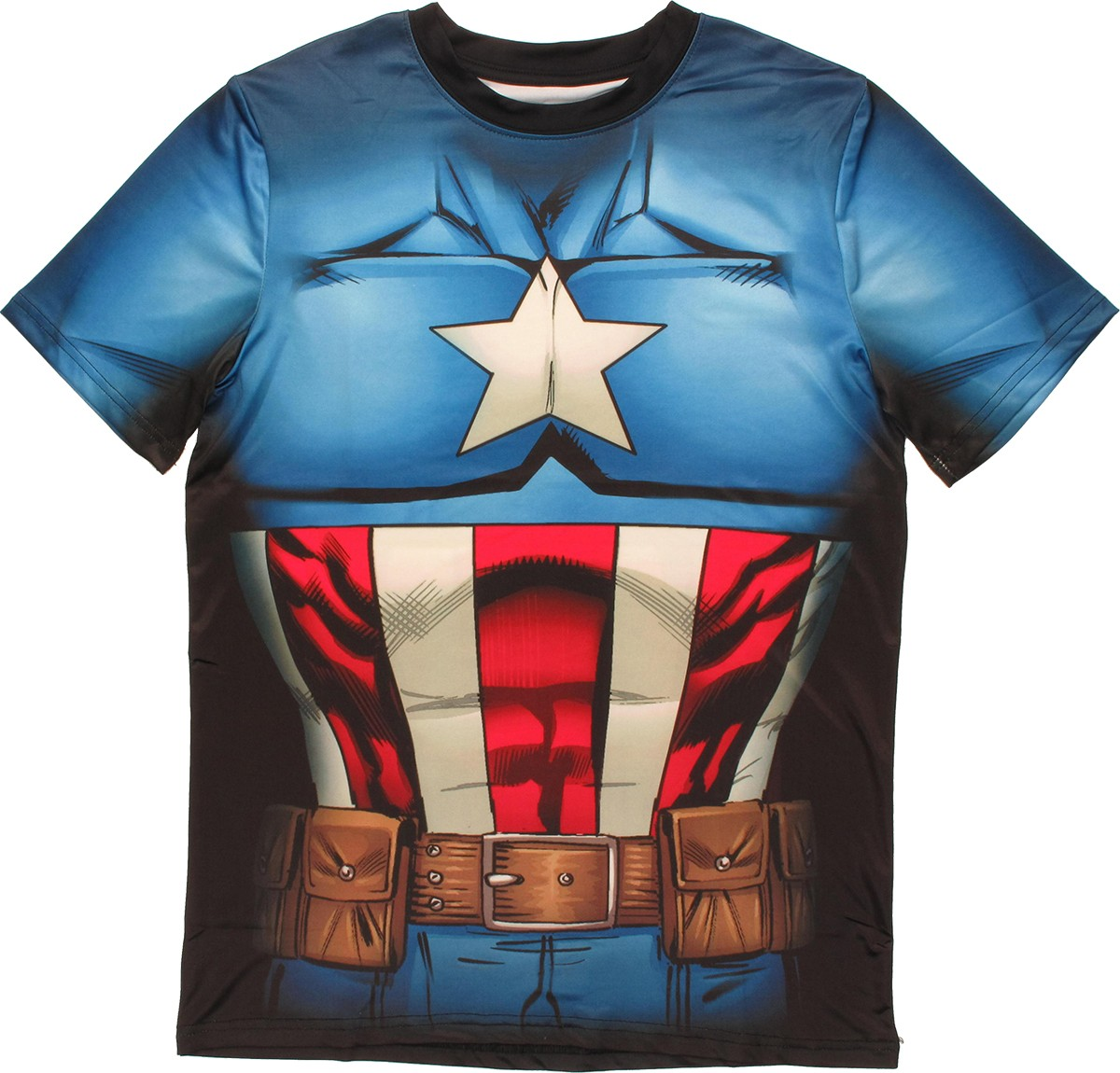 Captain america sublimated costume t shirt sheer for Costume t shirts online