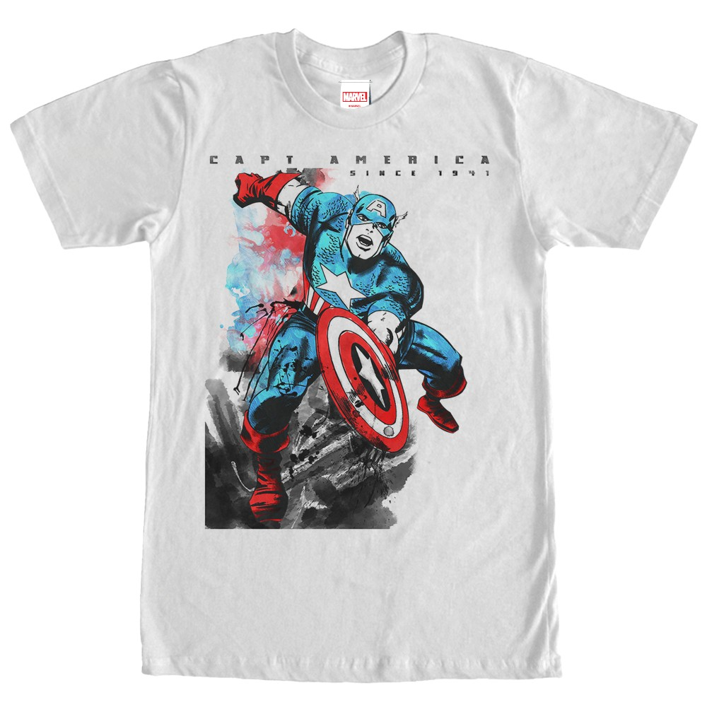 captain america watercolor pose t shirt. Black Bedroom Furniture Sets. Home Design Ideas