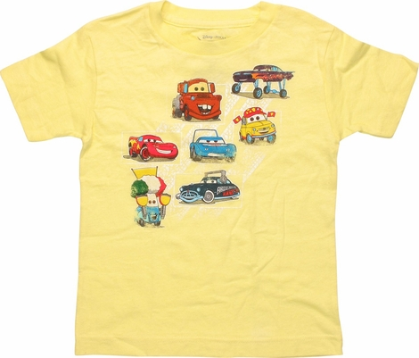 Cars Characters Across Yellow Toddler T-Shirt