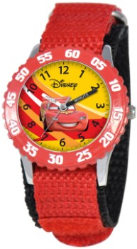 Cars Kids Stainless Steel Time Teacher Red Watch