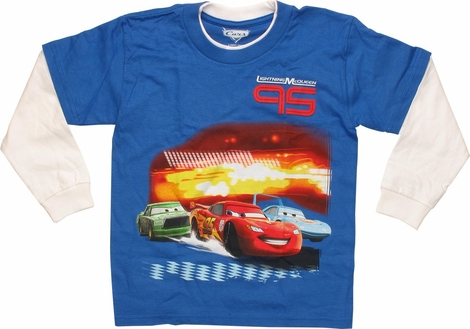 Cars Lightning McQueen 95 White LS Juvenile Shirt