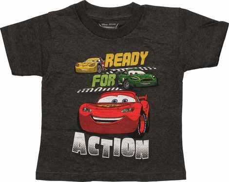 Cars Ready For Action Charcoal Toddler T Shirt