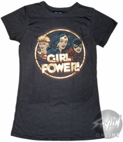 DC Women Girl Power Foil Juniors T-Shirt