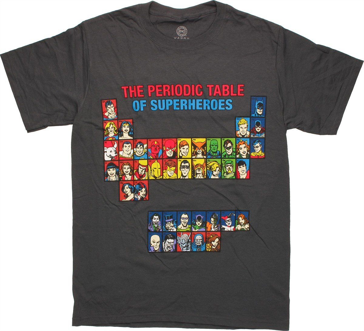 Dc comics periodic table t shirt for Comic t shirts online