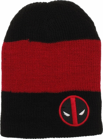 Deadpool Logo Striped Slouch Beanie