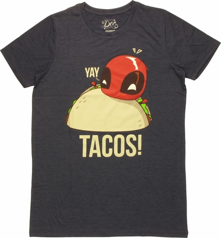 Deadpool Yay Tacos Boyfriend Ladies T-Shirt