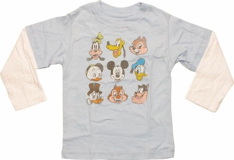 Disney 9 Characters Faces Long Sleeve Infant Shirt
