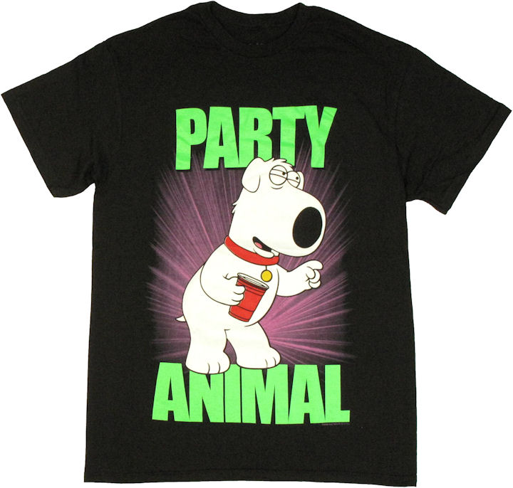 Family guy brian party animal t shirt for Animal tee shirts online