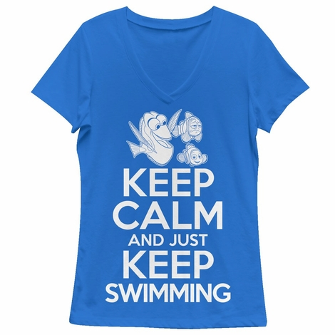 Finding Dory Keep Swimming V Neck Juniors T-Shirt
