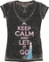 Frozen Keep Calm Let It Go Burnout V Neck Baby Tee