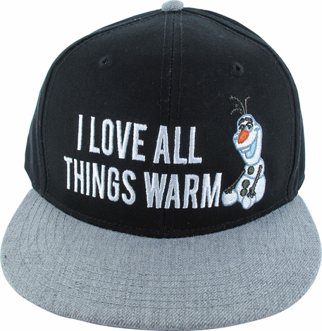 Frozen Olaf Love Things Warm Snapback Hat