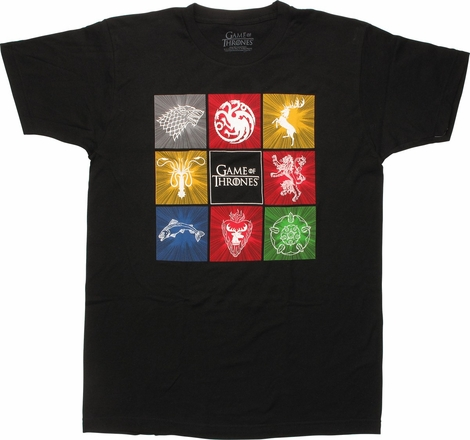Game of Thrones House Crests Squares T-Shirt Sheer