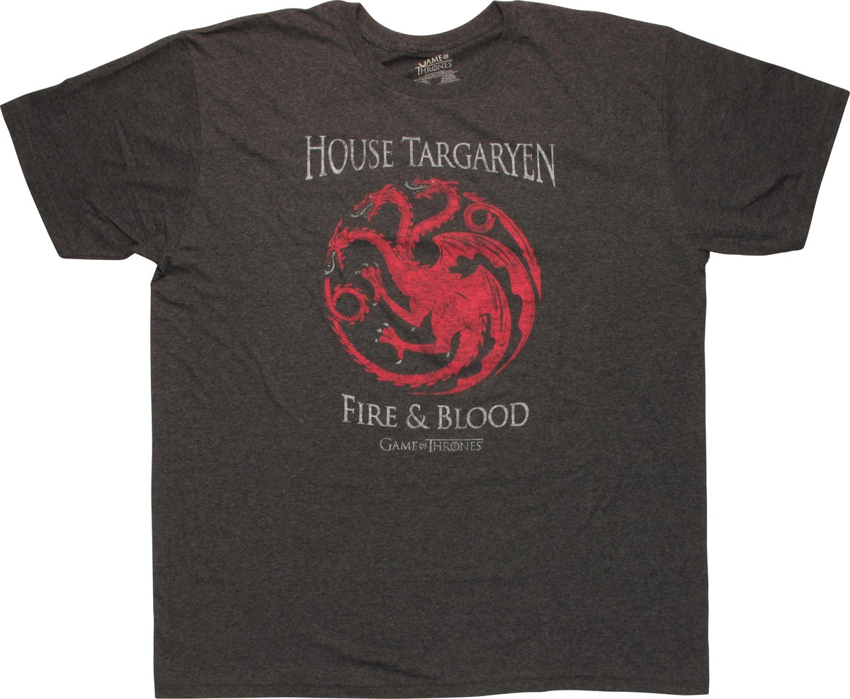 game of thrones house targaryen fire blood t shirt