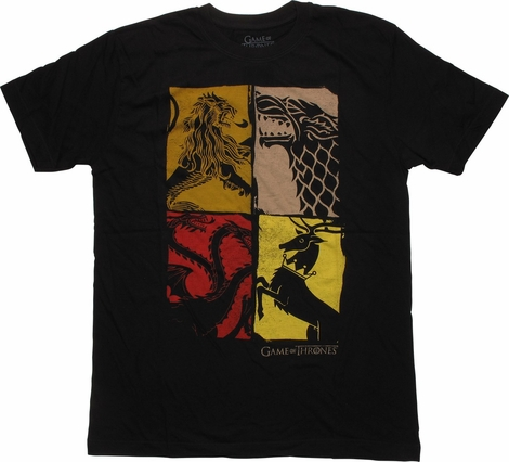 Game of Thrones Insignias 4 Square T-Shirt Sheer