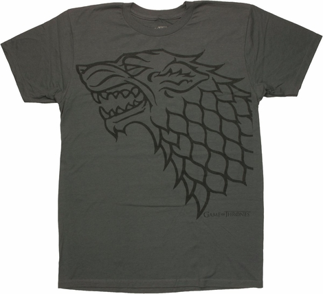 Game of Thrones Stark Charcoal T Shirt Sheer