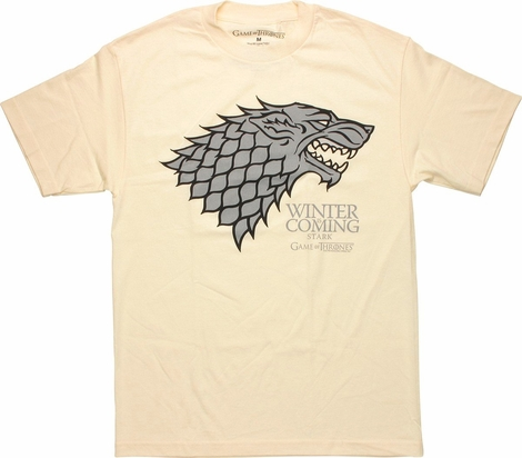 Game of Thrones Stark Gray Wolf Cream T Shirt