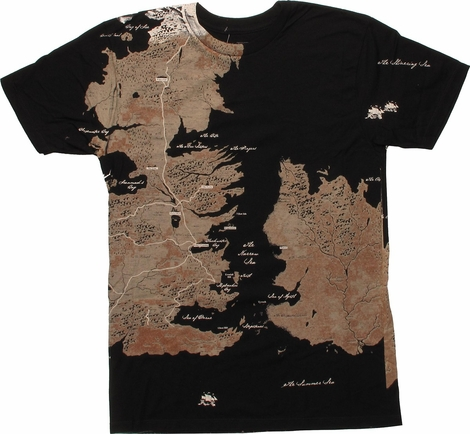 Game of Thrones Westeros Map Wrap T-Shirt