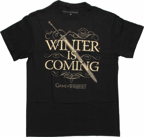 Game of Thrones Winter is Coming Sword T Shirt